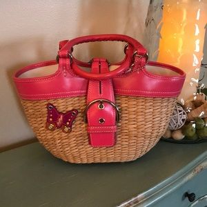 Coach Wicker and Leather Bag